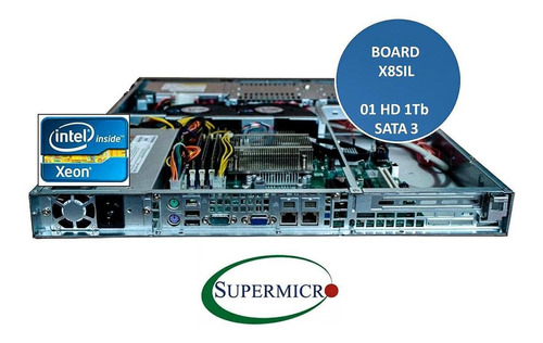 servidor supermicro rack 1u xeon 16gb hd 1tb s/ sistema