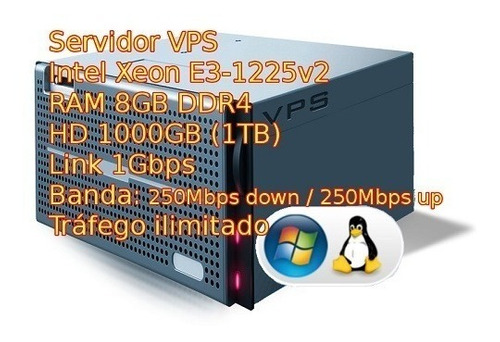 servidor vps xeon 3.2ghz 8gb ram 800gb hdd windows ou linux