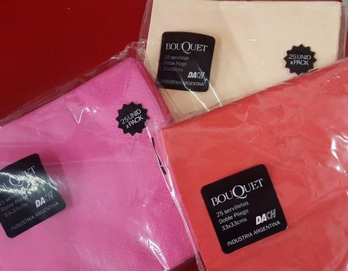 servilletas 24 x 24 papel tissue color doble hoja x 25 unid