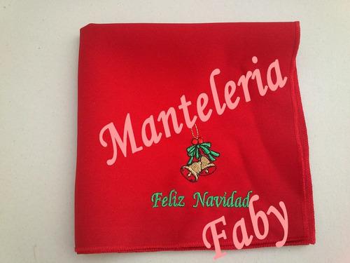 servilletas bordadas motivos navideños, souvenirs de 35 x 35