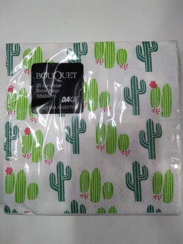 servilletas cactus bouquet 33x33cm 25 unidades