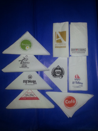 servilletas de papel impresas con logo 1 y 2 colores 18x18