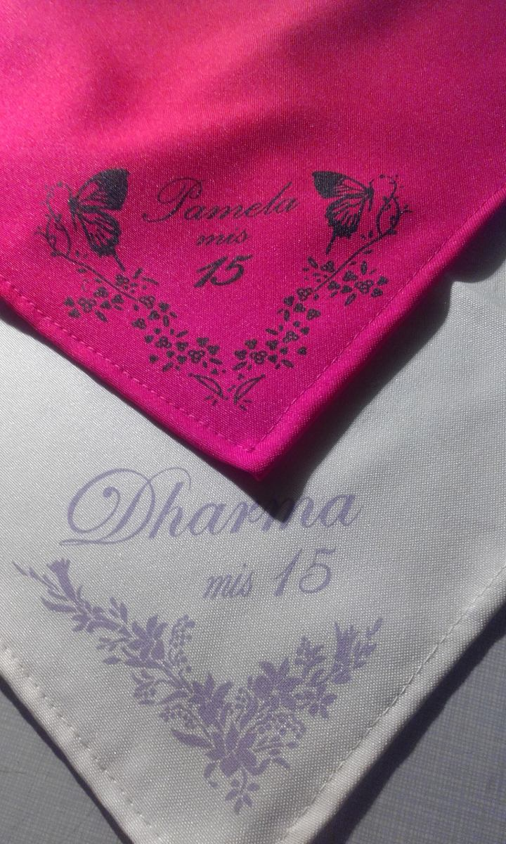 Servilletas en tela personalizadas 40x40 bodas aniversarios 37 00 en mercado libre - Servilletas personalizadas ...