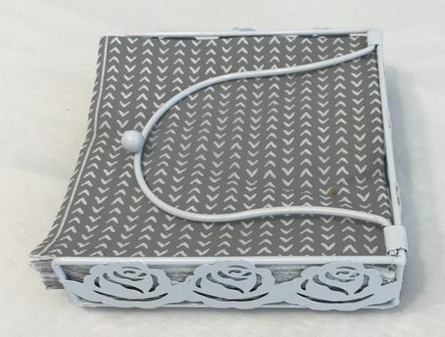 servilletero de metal blanco set x 2 unidades