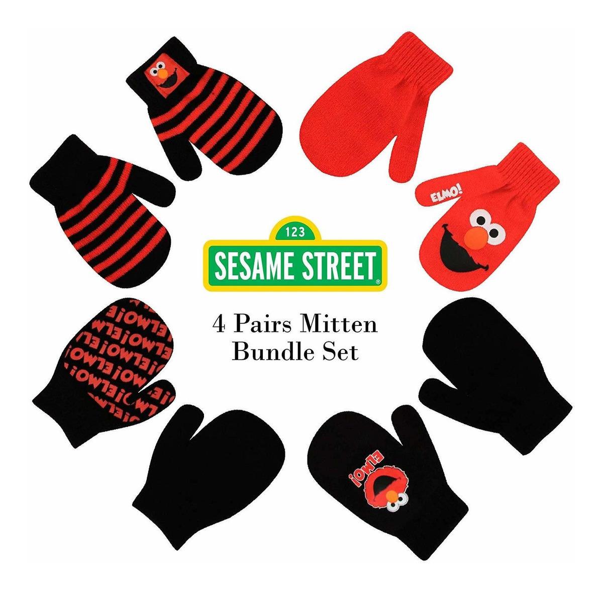 Sesame Street Elmo - Juego De 4 Pares De Manoplas, Para N