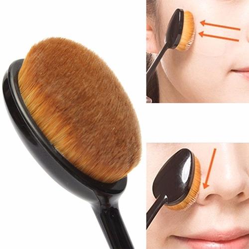 set 10 brochas ovaladas + limpiador maquillaje make up brush