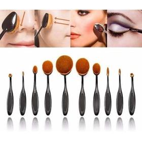 Set 10 Brochas Ovaladas Maquillaje Make Up Brush + Caja