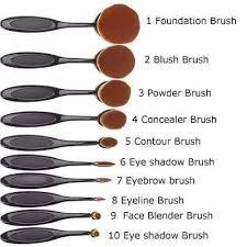 fb27b0674 Set 10 Brochas Pinceles Ovaladas Maquillaje Uso Profesional - $ 600 ...