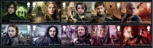 set 10 estampillas game of thrones inglaterra 2018, mint.