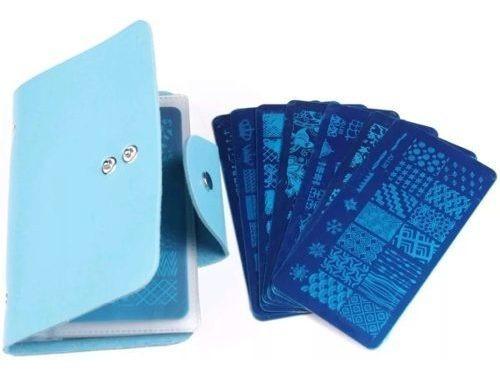 set 10 placas para diseño stamping + estuche + accesorio