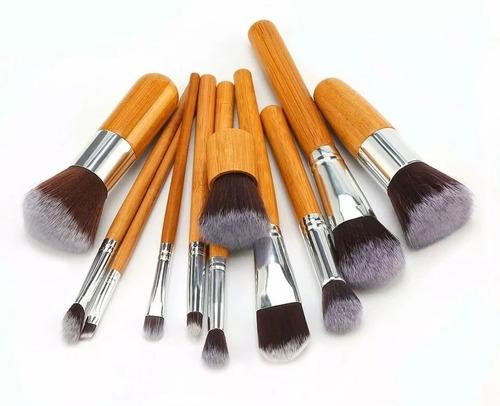 set 11 brochas kabuki ojos maquillaje profesional + envío