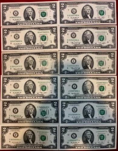 set 12 billetes 2 dolares 1976 de las 12 reservas federales