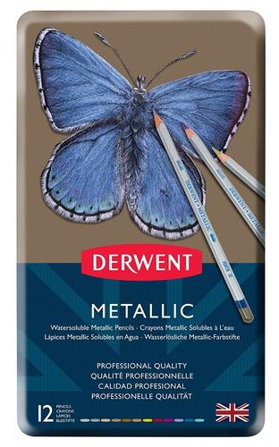 set 12 colores lápices acuarela derwent metálico dibujo arte