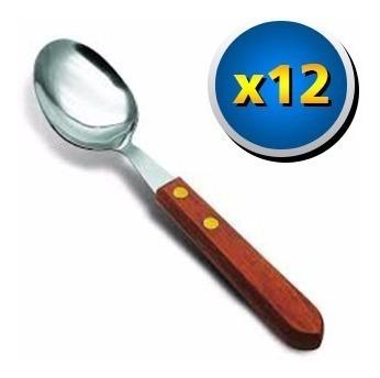 set 12 cuchara de mesa simonaggio hoja acero mango madera