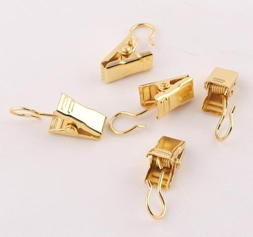 set 12 ganchos cocodrilo gold / oro para cortina / fotos