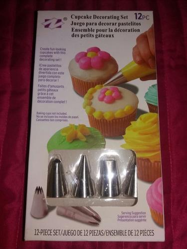 set 12 piezas 4 picos y 8 mangas decoración cupcake