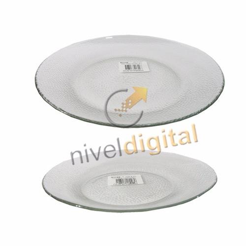 set 12 platos forjado playo postre vidrio durax transparente