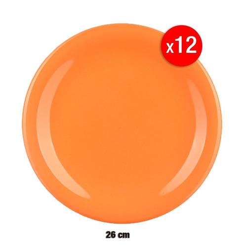 set 12  platos playos 26 cm cerámica naranja