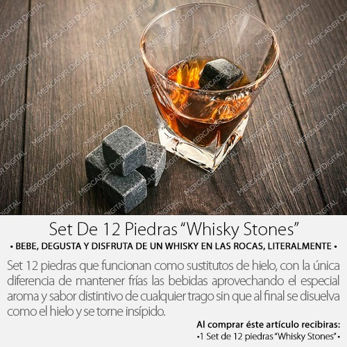set 12 rocas cubo  whisky stones  sustituto de hielo + envío