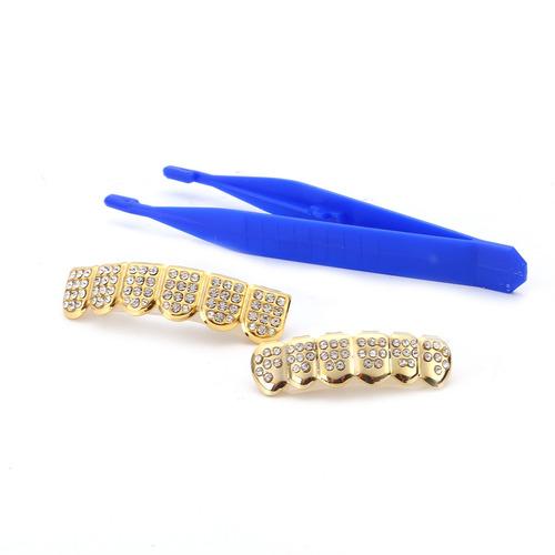 set 14k oro dientes grillz superior e fondo con hielo out cz