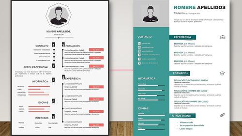 set 17 plantillas editables en word para elaborar curriculum