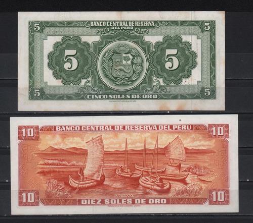 set 2 billetes perú 1963 1976 soles de oro 5 & 10 exc cond