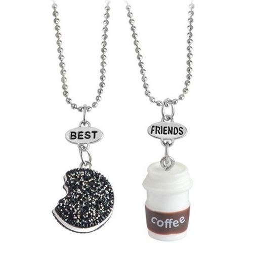 set 2 collares mejores amigos galleta y café best friends