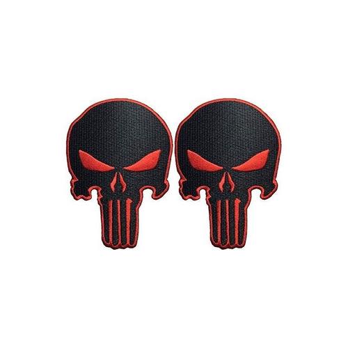 set 2 de black red skull coser on iron en bordado apliques p