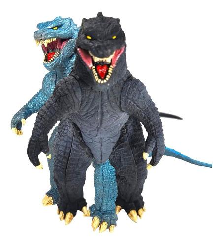 set 2 figuras godzilla azul negro gojira kaij juguete sonido