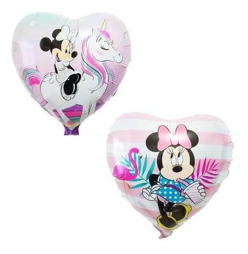 set 2 globos corazón minie unicornio y flamenco 45 cm