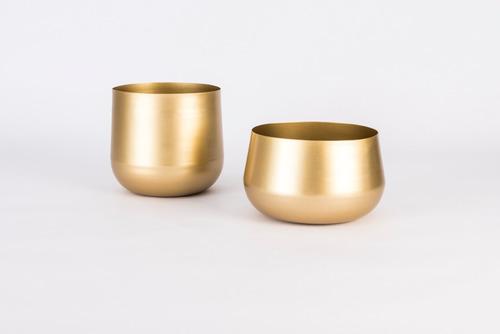 set 2 jarrones metal dorado
