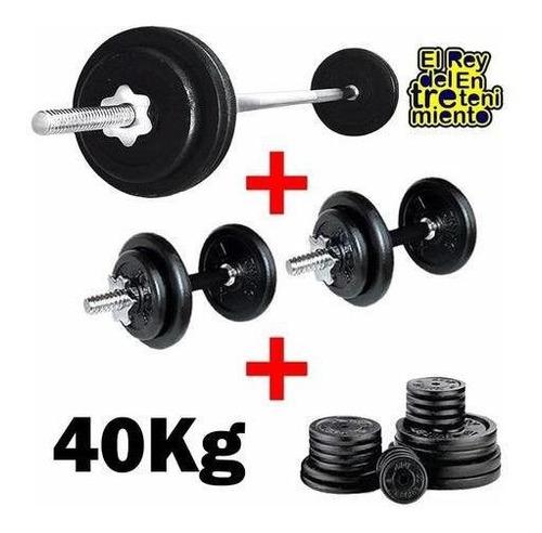 set 2 mancuernas + barra 1.5m + 40k hierro compacto - el rey