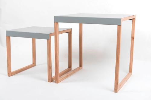 set 2 mesas bajas de chapa gris y madera kasadesign