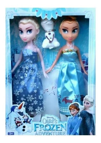 set 2 muñecas frozen elsa y anna + olaf juguete niñas