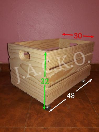(set 2 pzs) huacales cajas de madera con ruedas - juguetero