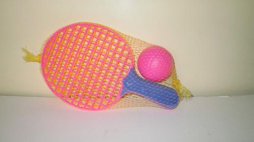 set 2 raquetas pequeña de plástico con 1 pelota para niños