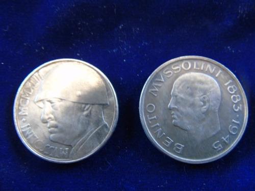 set 2 réplicas moneda medalla benito mussolini