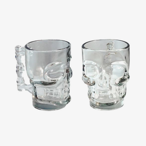 set 2 shoperos calavera skull shop vidrio halloween 500ml