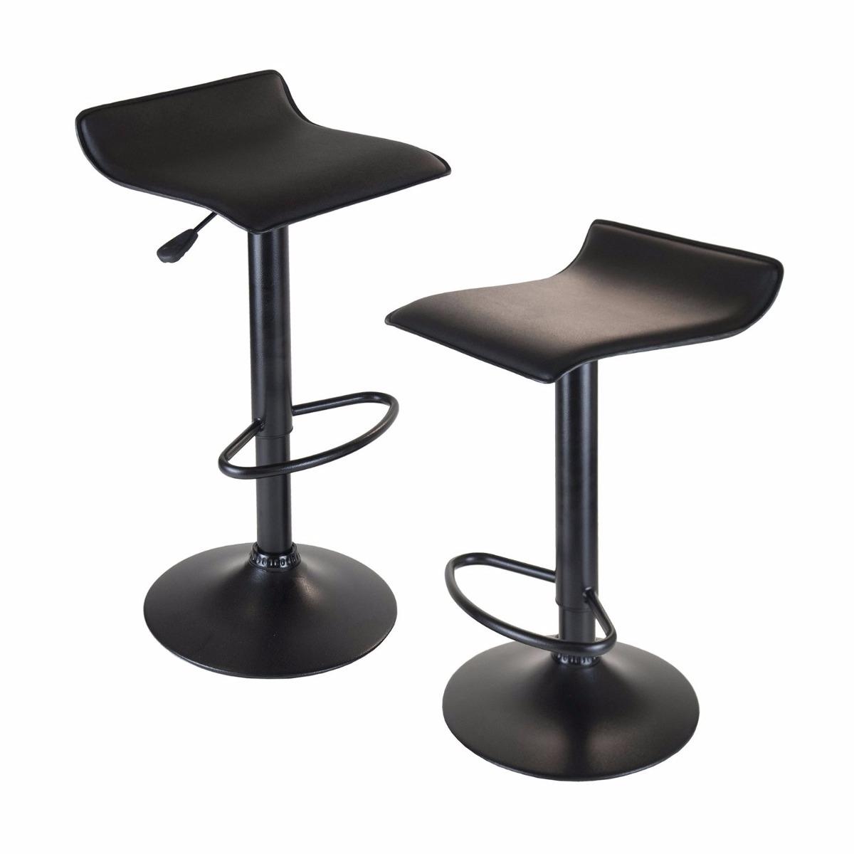 Set 2 sillas banco para cocina barra leick negro base for Sillas cocina negras