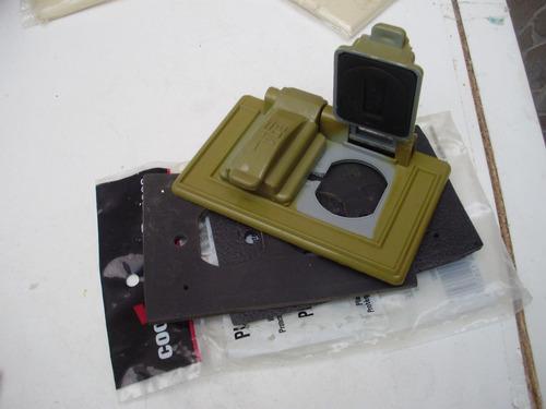 set 2 toma, interruptores palanca, tapas doble int/ext eagle