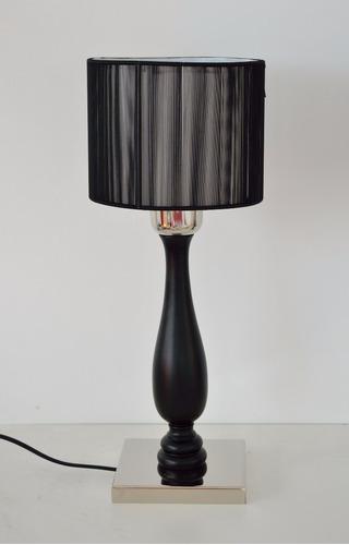 set 2 veladores de diseño madera laqueada con base niquel
