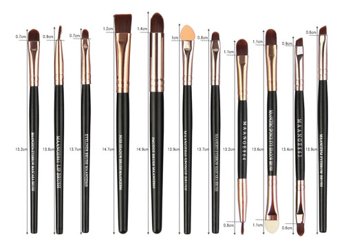 set 22 brochas maquillaje profesional cepillos ojos maange
