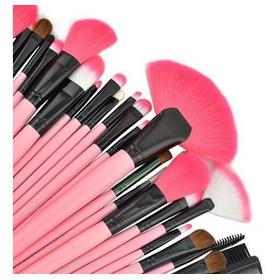 Set 24 Brochas Maquillaje Hot Pink