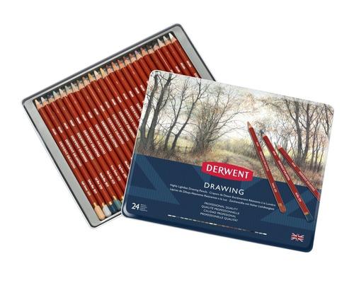 set 24 lápices colores con estuche de metal arte dibujo