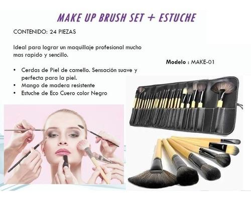 set 24 piezas de brochas maquillaje make up brush + estuche