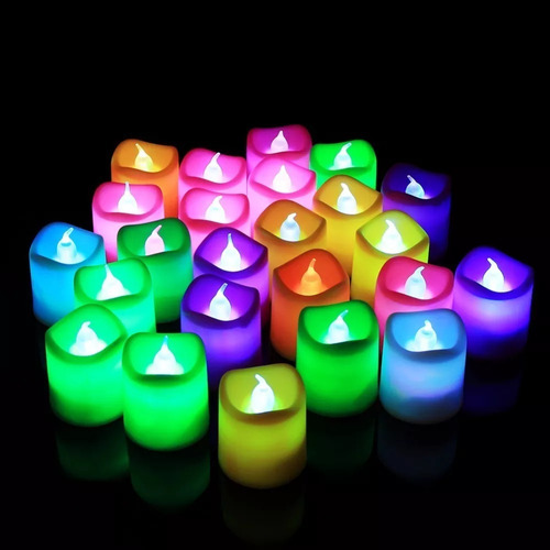 set 24 unidades velas led con luz 6 colores 23105
