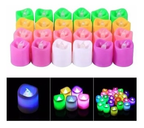 set 24 unidades velas led con luz 6 colores