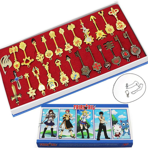 set 25 llaves fairy tail envio grais collar llavero zodiaco