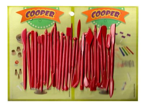 set 28 estecas herramientas cooper fondant - ciudad cotillón