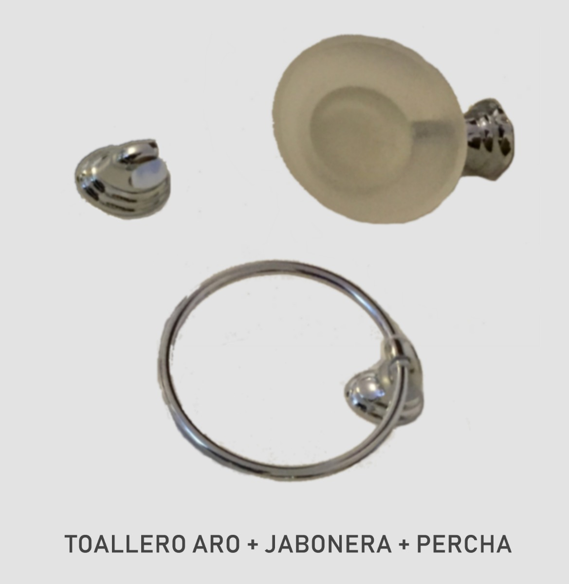set 3 accesorios de baño metal - jabonera+toalleroaro+percha. Cargando zoom. d505f30cd935